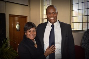 Joe Tate with his mother Debra, at his candidacy announcement on Sunday, 04/24/16 in Detroit