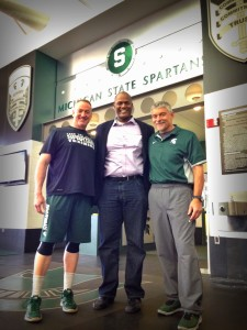 Joe Tate visiting with former MSU coaches Tommy Hoke (L) and Ken Mannie (R)